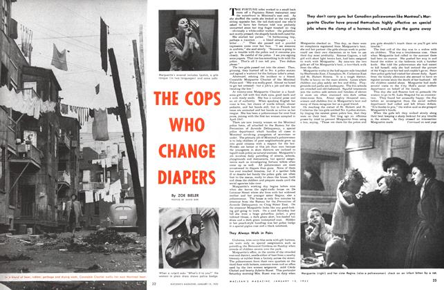 Article Preview: THE COPS WHO CHANGE DIAPERS, January 1952 | Maclean's