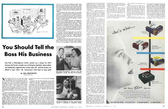 Article Preview: You Should Tell the Boss His Business, January 1952 | Maclean's
