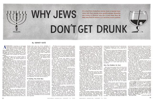 Article Preview: WHY JEWS DON'T GET DRUNK, January 1952 | Maclean's