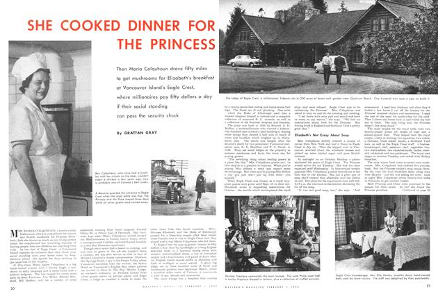 Article Preview: SHE COOKED DINNER FOR THE PRINCESS, February 1952 | Maclean's