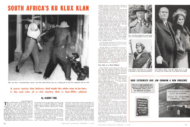 Article Preview: SOUTH AFRICA'S KU KLUX KLAN, February 1952 | Maclean's