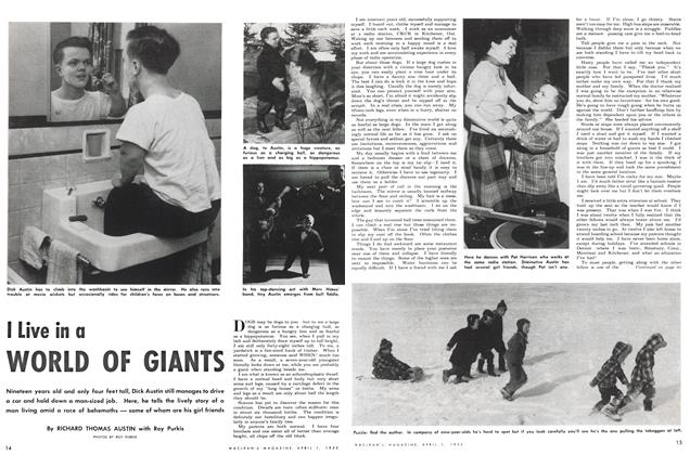 Article Preview: I Live in a WORLD OF GIANTS, April 1952 | Maclean's