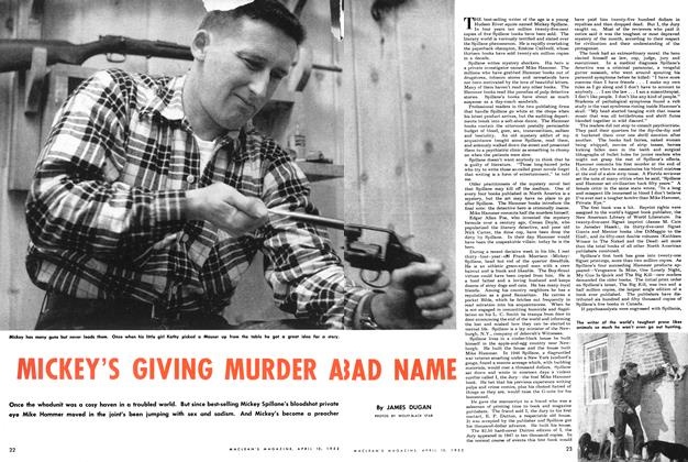 Article Preview: MICKEY'S GIVING MURDER A BAD NAME, April 1952 | Maclean's