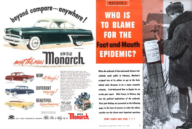 Article Preview: WHO IS TO BLAME FOR THE Foot-and-Mouth EPIDEMIC?, April 1952 | Maclean's