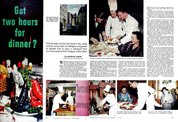 Article Preview: Got two hours for dinner?, September 1952 | Maclean's