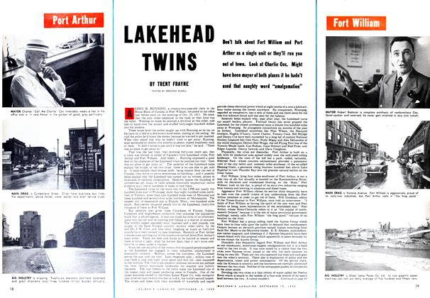 Article Preview: LAKEHEAD TWINS, September 1952 | Maclean's