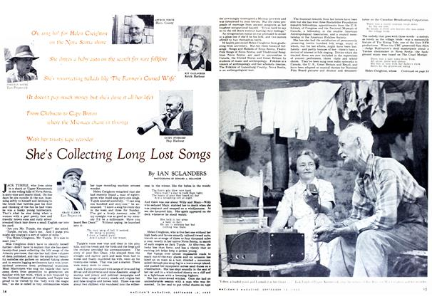 Article Preview: She's Collecting Long Lost Songs, September 1952 | Maclean's