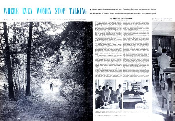 Article Preview: WHERE EVEN WOMEN STOP TALKING, October 1952 | Maclean's