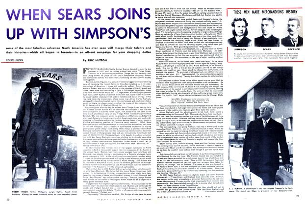 Article Preview: WHEN SEARS JOINS UP WITH SIMPSON'S, November 1952 | Maclean's