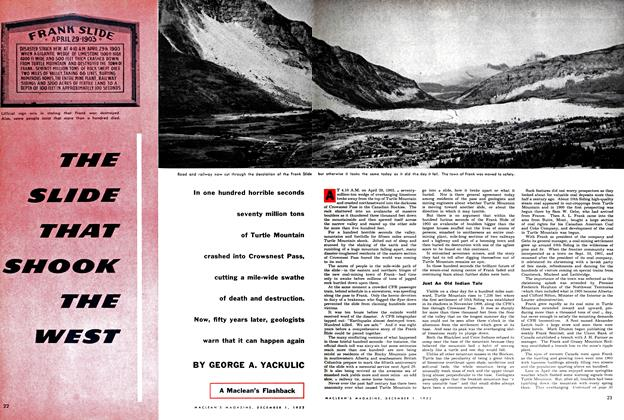Article Preview: THE SLIDE THAT SHOOK THE WEST, December 1952 | Maclean's