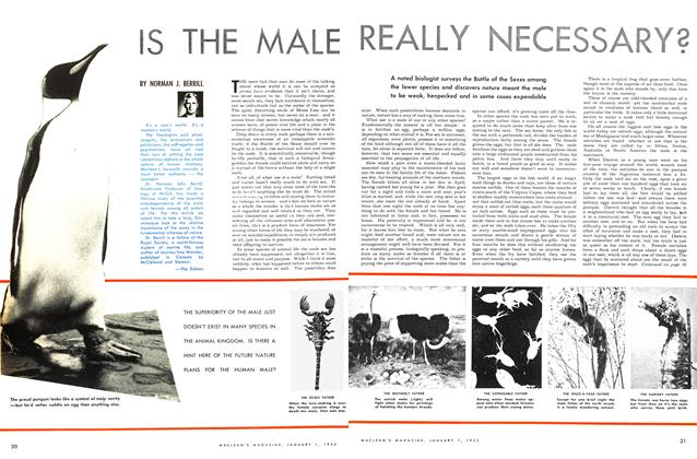 Article Preview: IS THE MALE REALLY NECESSARY?, January 1953 | Maclean's