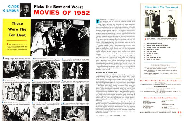 Article Preview: Picks the Best and Worst MOVIES OF 1952, January 1953 | Maclean's