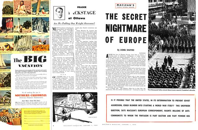 Article Preview: THE SECRET NIGHTMARE OF EUROPE, January 1953 | Maclean's