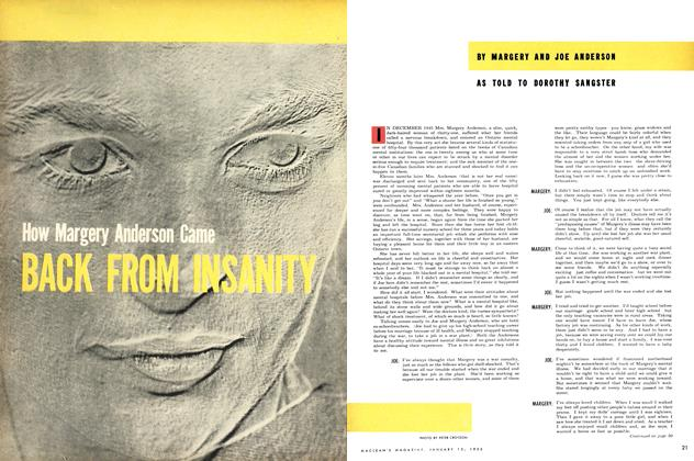 Article Preview: How Margery Anderson Came BACK FROM INSANITY, January 1953 | Maclean's