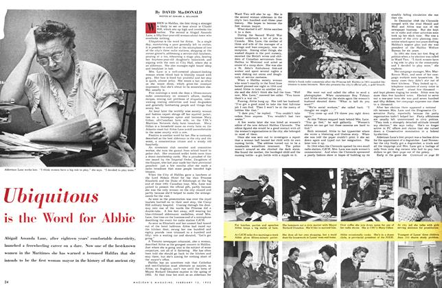 Article Preview: Ubiquitous is the Word for Abbie, February 1953 | Maclean's