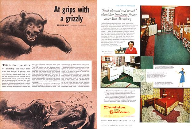 Article Preview: At grips with a grizzly, March 1953 | Maclean's