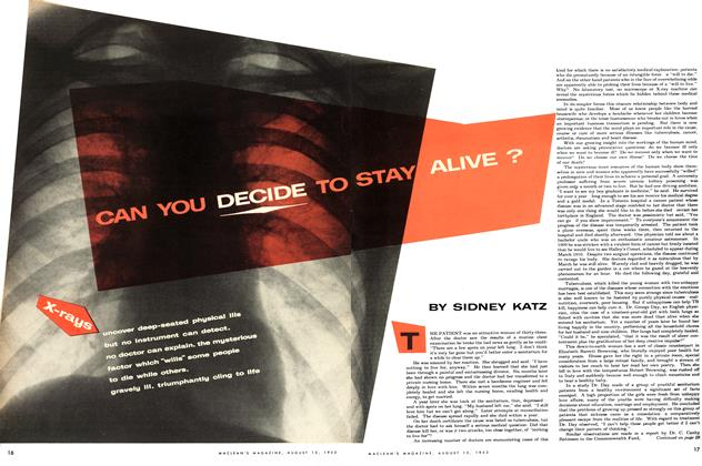 Article Preview: CAN YOU DECIDE TO STAY ALIVE?, August 1953 | Maclean's