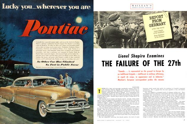Article Preview: Lionel Shapiro Examines THE FAILURE OF THE 27th, August 1953 | Maclean's