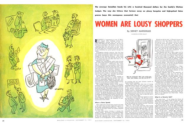 Article Preview: WOMEN ARE LOUSY SHOPPERS, September 1953 | Maclean's