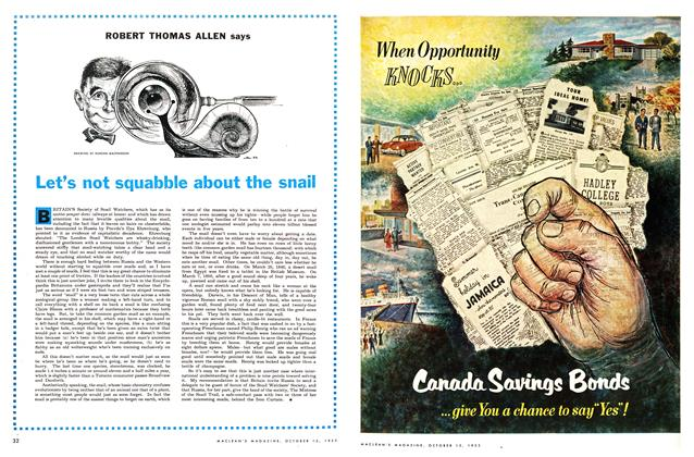 Article Preview: Let's not squabble about the snail, October 1953 | Maclean's