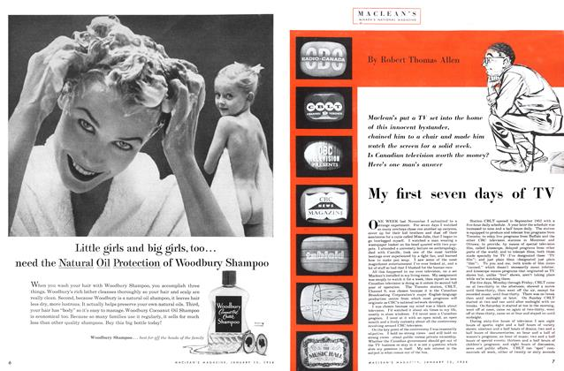Article Preview: My first seven days of TV, January 1954 | Maclean's