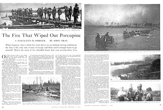 Article Preview: The Fire That Wiped Out Porcupine, February 1954 | Maclean's