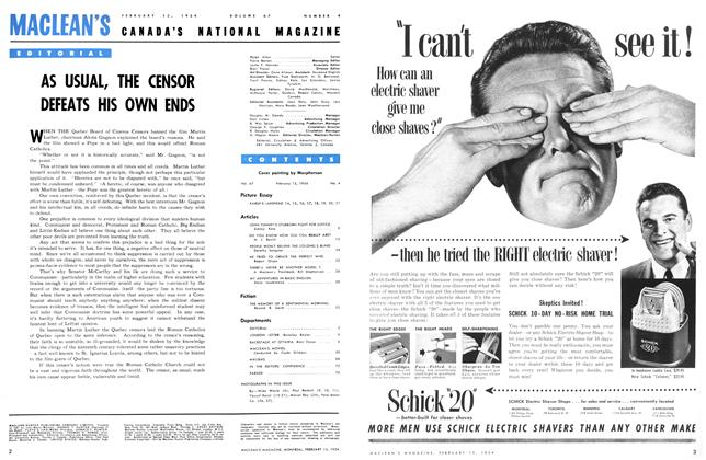 Article Preview: AS USUAL, THE CENSOR DEFEATS HIS OWN ENDS, February 1954 | Maclean's