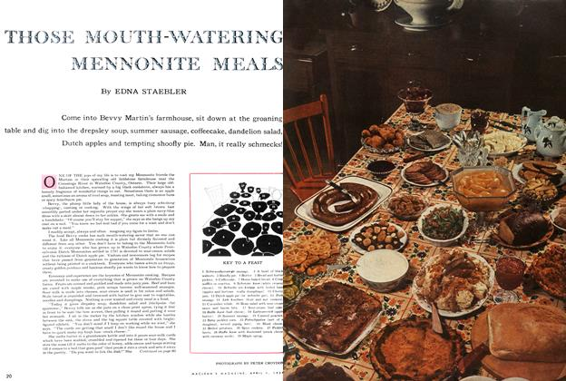 Article Preview: THOSE MOUTH-WATERING MENNONITE MEALS, April 1954 | Maclean's