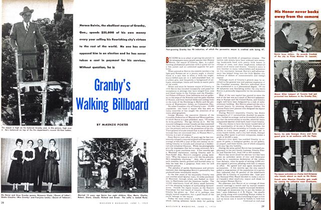 Article Preview: Granby's Walking Billboard, June 1954 | Maclean's