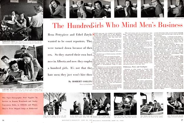 Article Preview: The Hundred Girls Who Mind Men's Business, June 1954 | Maclean's