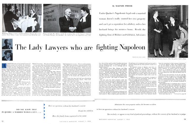 Article Preview: The Lady Lawyers who are fighting Napoleon, August 1954 | Maclean's