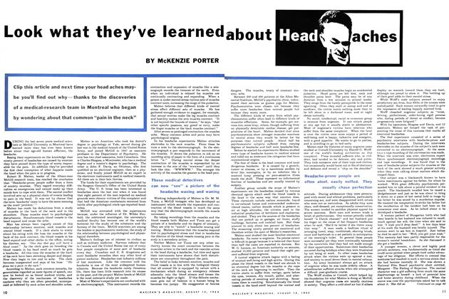 Article Preview: Look what they've learned about Head aches, August 1954 | Maclean's