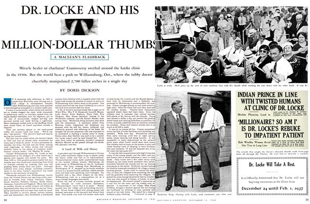 Article Preview: DR. LOCKE AND HIS MILLION-DOLLAR THUMBS, September 1954 | Maclean's