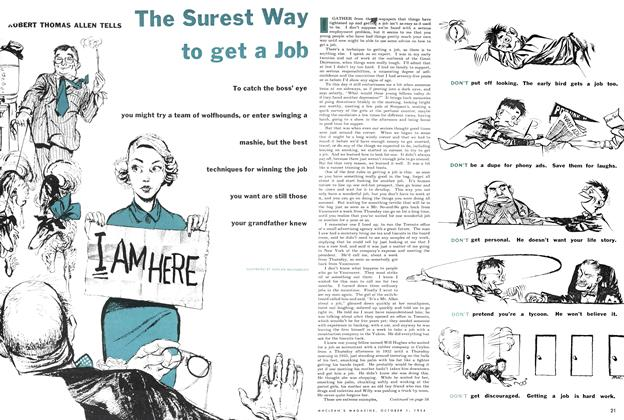 Article Preview: The Surest Way to get a Job, October 1954 | Maclean's