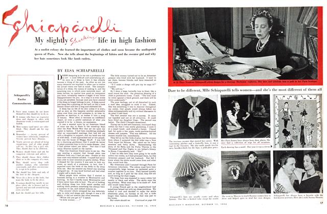 Article Preview: My slightly Shocking life in high fashion, October 1954 | Maclean's