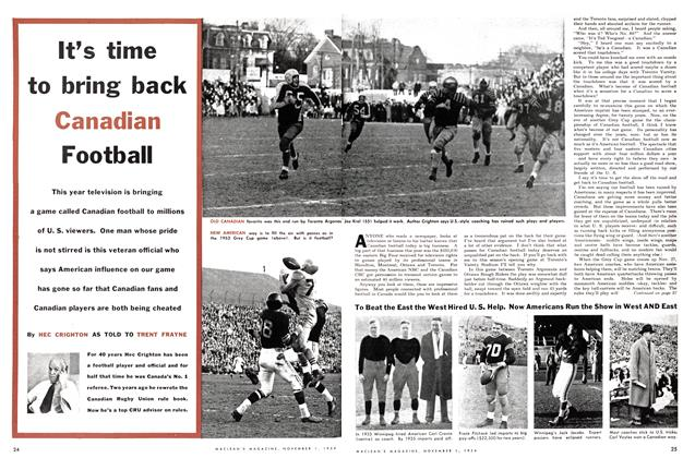 Article Preview: It's time to bring back Canadian Football, November 1954 | Maclean's