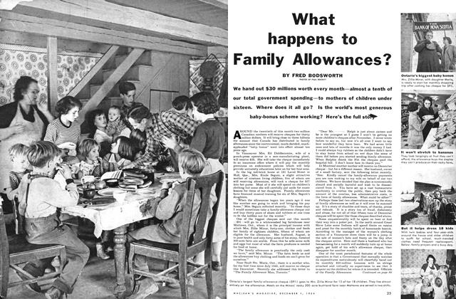Article Preview: What happens to Family Allowances?, December 1954 | Maclean's