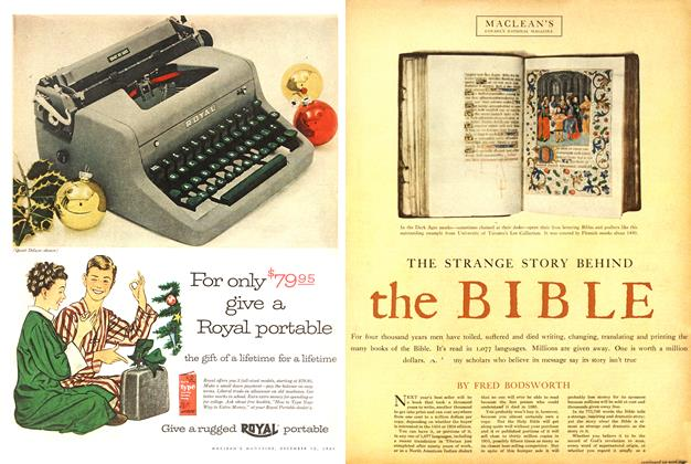 Article Preview: THE STRANGE STORY BEHIND the BIBLE, December 1954 | Maclean's
