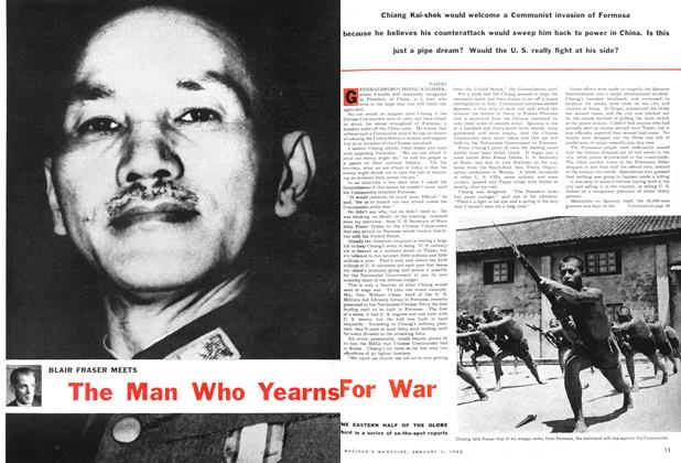 Article Preview: BLAIR FRASER MEETS The Man Who Yearns For War, January 1955 | Maclean's