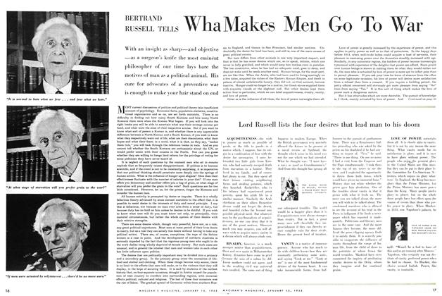 Article Preview: BERTRAND RUSSELL TELLS What Makes Men Go To War, January 1955 | Maclean's