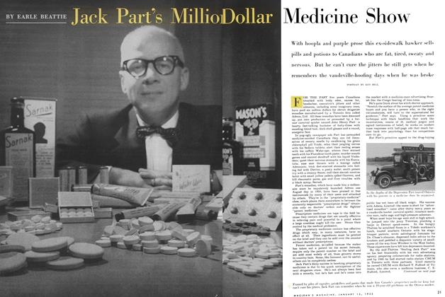 Article Preview: Jack Part's Million Dollar Medicine Show, January 1955 | Maclean's