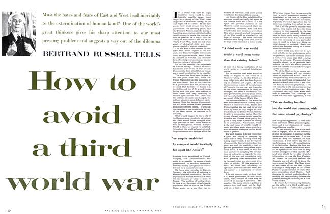 Article Preview: How to avoid a third world war, February 1955 | Maclean's