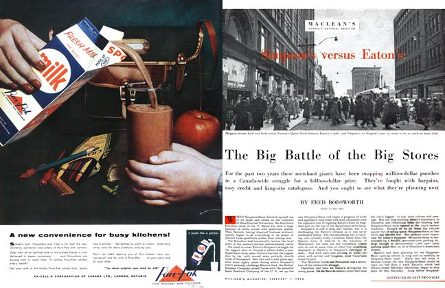 Article Preview: The Big Battle of the Big Stores, February 1955 | Maclean's