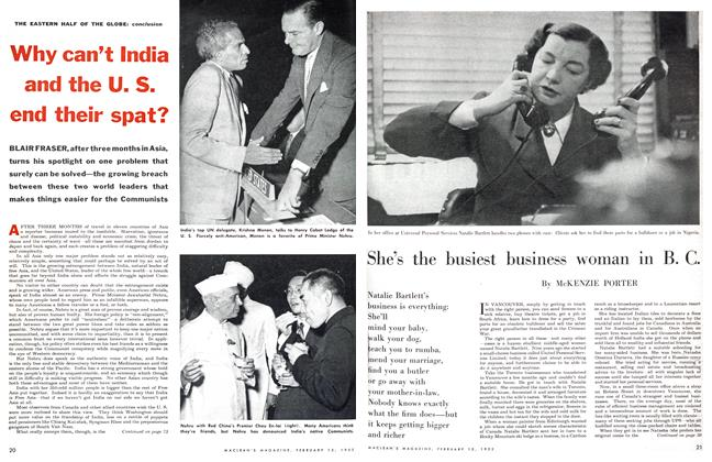 Article Preview: Why can't India and the U. S. end their spat?, February 1955 | Maclean's