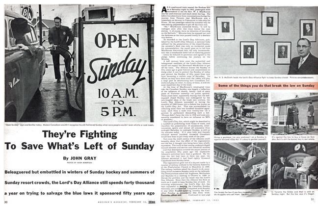 Article Preview: They're Fighting To Save What's Left of Sunday, February 1955 | Maclean's
