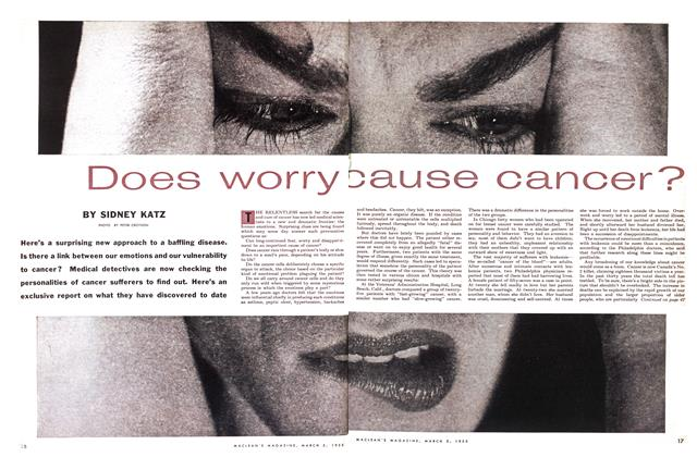 Article Preview: Does worry cause cancer?, March 1955 | Maclean's