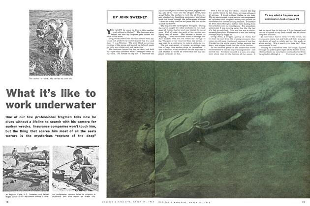 Article Preview: What it's like to work underwater, March 1955 | Maclean's