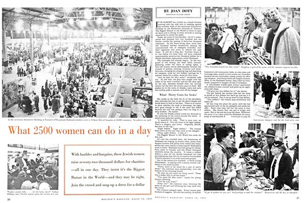 Article Preview: What 2500 women can do in a day, March 1955 | Maclean's