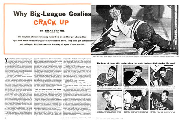 Article Preview: Why Big-League Goalies CRACK Up, March 1955 | Maclean's