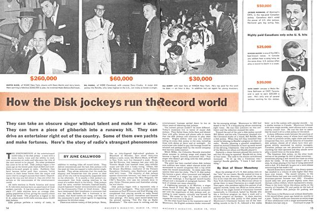 Article Preview: How the Disk jockeys run the Record world, March 1955 | Maclean's